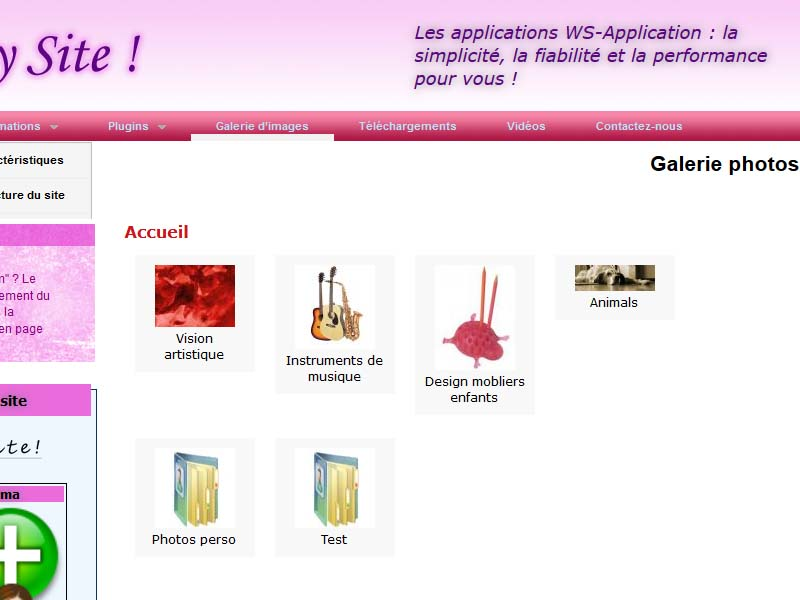 Ws-MySite! intègre nativement la galerie photo Ws-Egal. Organisez simplement vos collections et albums de photos.